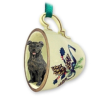 Staffordshire Bull Terrier Brindle Tea Cup Green Holiday Ornament