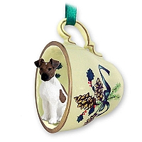 Fox Terrier Brown & White Tea Cup Green Holiday Ornament