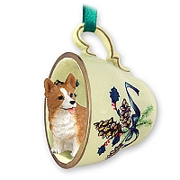 Welsh Corgi Pembroke Tea Cup Green Holiday Ornament