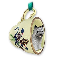 Cairn Terrier Gray Tea Cup Green Holiday Ornament