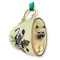 Cairn Terrier Red Tea Cup Green Holiday Ornament