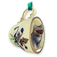 Cairn Terrier Brindle Tea Cup Green Holiday Ornament