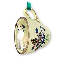 Greyhound Tan & White Tea Cup Green Holiday Ornament