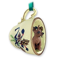 Miniature Pinscher Red & Brown Tea Cup Green Holiday Ornament