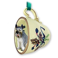 Schnauzer Giant Gray Tea Cup Green Holiday Ornament