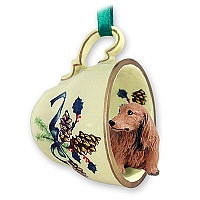Dachshund Longhaired Red Tea Cup Green Holiday Ornament