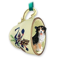 Bernese Mountain Dog Tea Cup Green Holiday Ornament