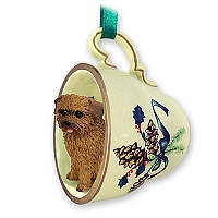 Norfolk Terrier Tea Cup Green Holiday Ornament