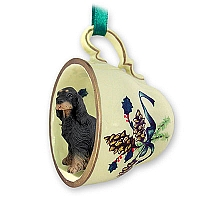 Gordon Setter Tea Cup Green Holiday Ornament