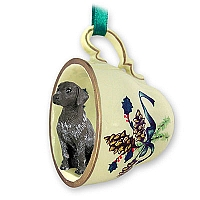 German Short Haired Pointer Tea Cup Green Holiday Ornament