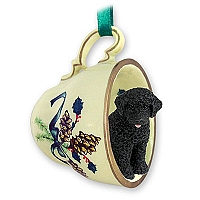 Portuguese Water Dog Tea Cup Green Holiday Ornament
