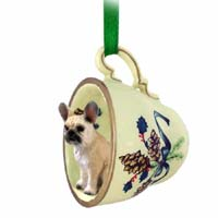 French Bulldog Fawn Tea Cup Green Holiday Ornament