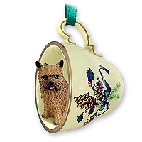 Norwich Terrier Tea Cup Green Holiday Ornament