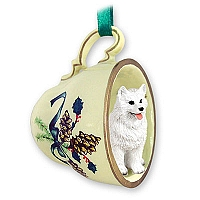 American Eskimo Tea Cup Green Holiday Ornament