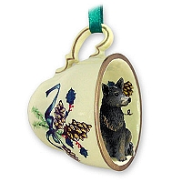 Australian Cattle BlueDog Tea Cup Green Holiday Ornament