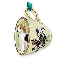 American Fox Hound Tea Cup Green Holiday Ornament