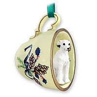 Whippet White Tea Cup Green Holiday Ornament