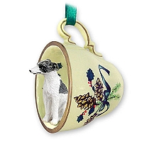 Whippet Gray & White Tea Cup Green Holiday Ornament