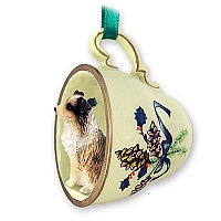Australian Shepherd Brown w/Docked Tail Tea Cup Green Holiday Ornament