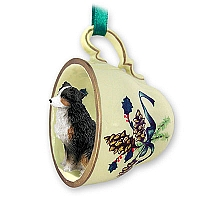 Australian Shepherd Tricolor w/Docked Tail Tea Cup Green Holiday Ornament