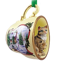 Brown Shorthaired Tabby Cat Tea Cup Snowman Holiday Ornament