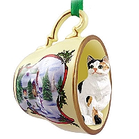 Calico Shorthaired Tea Cup Snowman Holiday Ornament