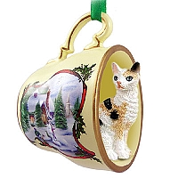Tortoise & White Cornish Rex Tea Cup Snowman Holiday Ornament