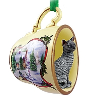 Blue Cornish Rex Tea Cup Snowman Holiday Ornament