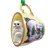 White Persian Tea Cup Snowman Holiday Ornament