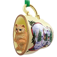 Red Persian Tea Cup Snowman Holiday Ornament