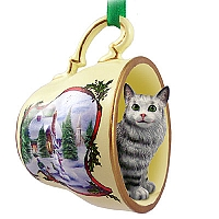 Silver Tabby Maine Coon Cat Tea Cup Snowman Holiday Ornament