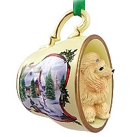Poodle Apricot Tea Cup Snowman Holiday Ornament