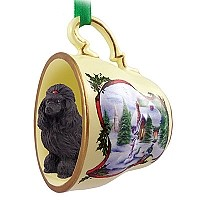 Poodle Black Tea Cup Snowman Holiday Ornament