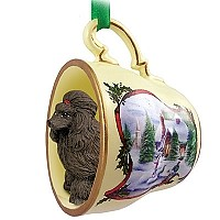 Poodle Chocolate Tea Cup Snowman Holiday Ornament