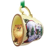 Pomeranian Red Tea Cup Snowman Holiday Ornament