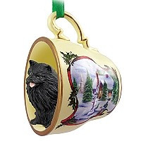 Pomeranian Black Tea Cup Snowman Holiday Ornament