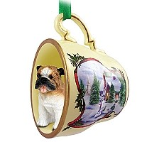 Bulldog Tea Cup Snowman Holiday Ornament