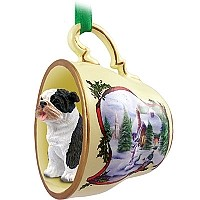 Bulldog Brindle Tea Cup Snowman Holiday Ornament
