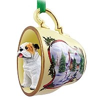 Bulldog White Tea Cup Snowman Holiday Ornament