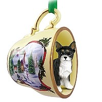 Chihuahua Black & White Tea Cup Snowman Holiday Ornament