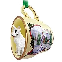 Bull Terrier Tea Cup Snowman Holiday Ornament