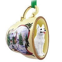 German Shepherd White Tea Cup Snowman Holiday Ornament