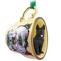 German Shepherd Black Tea Cup Snowman Holiday Ornament