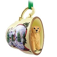 Golden Retriever Tea Cup Snowman Holiday Ornament