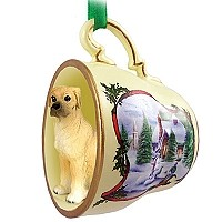 Great Dane Fawn w/Uncropped Ears Tea Cup Snowman Holiday Ornament