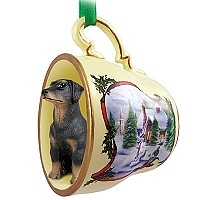 Doberman Pinscher Black w/Uncropped Ears Tea Cup Snowman Holiday Ornament