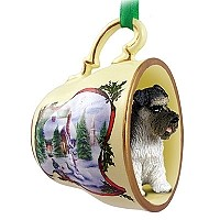 Schnauzer Gray w/Uncropped Ears Tea Cup Snowman Holiday Ornament