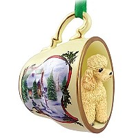 Poodle Apricot w/Sport Cut Tea Cup Snowman Holiday Ornament