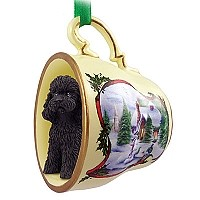 Poodle Black w/Sport Cut Tea Cup Snowman Holiday Ornament
