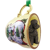 Poodle Chocolate w/Sport Cut Tea Cup Snowman Holiday Ornament